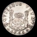 Ancient Coins - Spain - Carlos III (1759-1788) 8 Silver Reales, 1761 México. Assayer MM. Crowned Pillars.