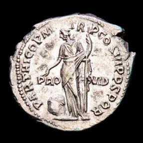Ancient Coins - Trajan (98-117 A.D.) Silver denarius. Rome 116 A.D. -  PARTHICO P M TR P COS VI P P S P Q R, PRO-VID, Providentia