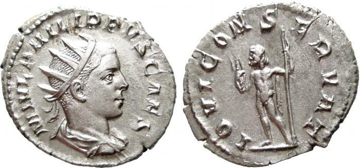 Ancient Coins - Philip II as Caesar. (245-247 AD). AR antoninianus, Rome. IOVI CONSERVAT. EF. Scarce.