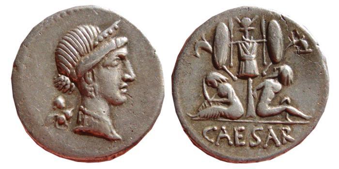 Ancient Coins - Julius Caesar AR denarius, Spain 46-45 BC. Trophy & two captives. CAESAR. VF+.