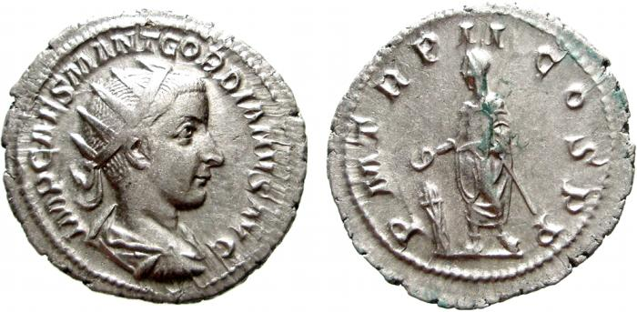 Ancient Coins - Gordian III AR antoninianus, Rome mint,  March - May (?) 240 A.D.  P M TR P II COS P P. VF+.