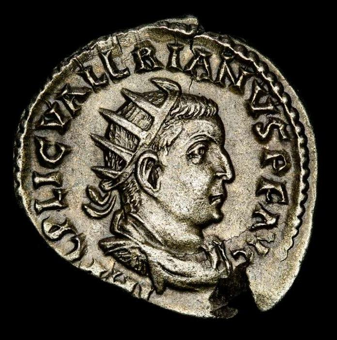 Ancient Coins - Valerian I. A.D. 253-260. AR antoninianus. Rome. RESTITVTOR ORBIS, Valerian raising female kneeling right.