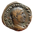 Ancient Coins - Roman empire - Philip I (244-249 A.D.), bronze sestertius (18,80 grs. 28 mm.) minted in Rome, 249 A.D. MILIARIVM SAECVLVM, S-C, cippus millenarius inscribed COS III.