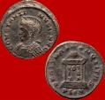 Ancient Coins - Constantine I the Great (307-337 A.D.) helmeted follis (3,65 g. 19 mm.). Londinum mint. Struck 321 A.D. BEATA TRANQVILLITAS. PLON