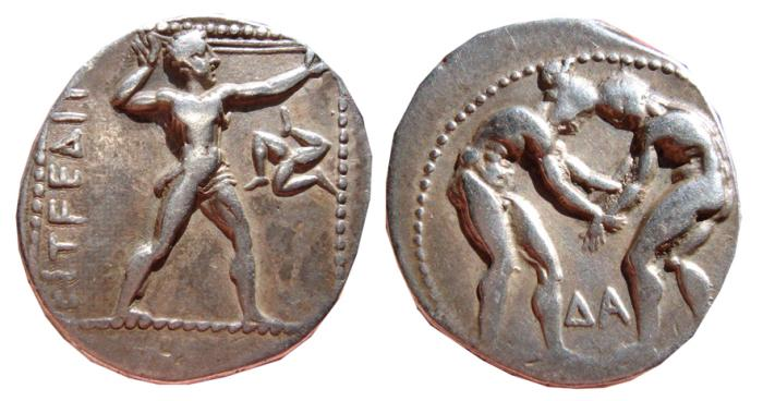Ancient Coins - Aspendus, Pamphylia, ca 420-370 BC. AR stater. ESTFEDIIUS. triskelis.