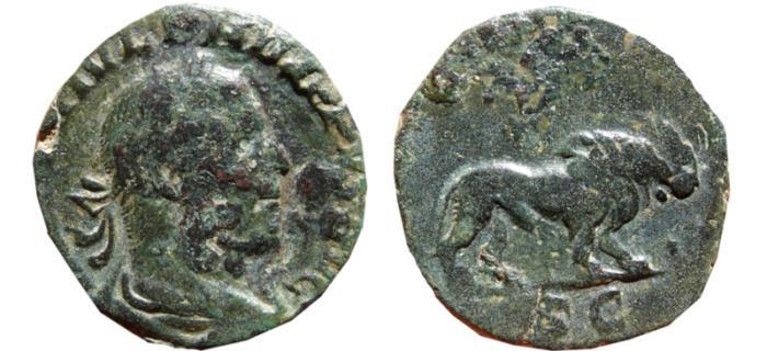 Ancient Coins - Philip I AE sestertius. 248 AD. SAECVLARES AVGG S-C. Lion. Scarce.