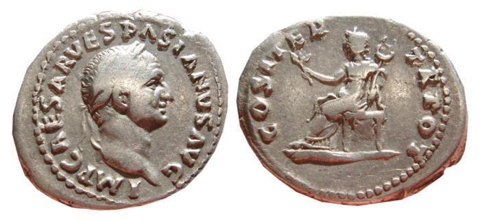 Ancient Coins - Vespasian AR denarius, Rome, AD 69-71. COS ITER - TR POT, Pax. VF.