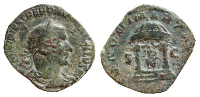 Ancient Coins - Trebonianus Gallus AE sestertius. 251-253 AD. IVNONI MARTIALI. SC.