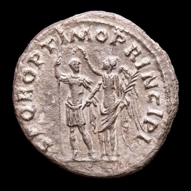 Ancient Coins - Trajan (AD 98-117.) Silver Denarius - Rome 103-111 A.D. - SPQR OPTIMO PRINCIPI Trajan, holding sceptre and parazonium, crowned by Victory