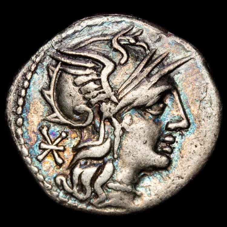 Ancient Coins - M. Aburius M. f. Geminus AR Denarius. Rome, 132 BC. - Rare. Helmeted head of Roma right; ( NO GEM behind ) XVI monogram behind, no below chin.