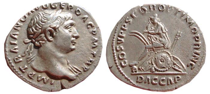 Ancient Coins - Traian AR denarius. Rome, AD 103-111. COS V P P S P Q R OPTIMO PRINC. DAC CAP. VF+.