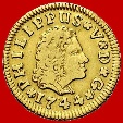 Spain-Philip V (1700-1746) 1/2 escudo gold coin Seville 1744-P J Rare