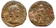 Ancient Coins - Otacilla Severa (244-249 A.D.), wife of Philippus I, bronze Sestertius.  PIETAS AVGVSTAE SC. RIC 208a (Philip I).