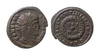Ancient Coins - Very rare Constantine I Æ  radiated follis. Ticinum, AD 320.  RIC 131. VF condition.