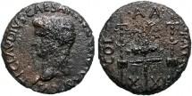 Ancient Coins - Claudius AE as, Patrae (Patrai, Patras) 41-54 AD. COL.A.A.PATR X XII Legionary eagle between two standards.