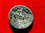 Ancient Coins - Ancient Hispania - Beligiom (Belchite, Zaragoza- Spain), bronze as (7,33 g. 24 mm.) minted II B.C. BeLIGIOM. Spearhorseman.  FAB 243.