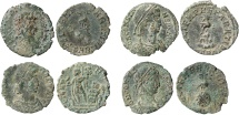 Roman Empire - Four roman bronze coins lot of Constans (337-350 A.D.) from Arles mint. FEL TEMP REPARATIO.