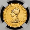 World Coins - Brazil Republic - gold 20000 Reis 1895, Rio de Janeiro mint, KM497.