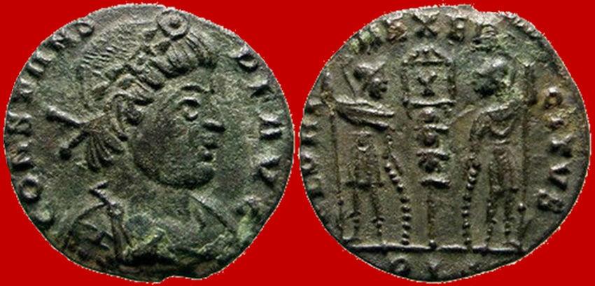 Ancient Coins - Attractive Constans Æ15, Lugdunum. 337-350. GLORIA EXERCITVS, Y, PLG.