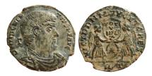 Ancient Coins - Magnentius AE21. Rome. 352 AD. Two Victories. VOT V MVLT X. */RT.