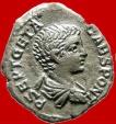Ancient Coins - Geta as caesar (203-208 A.D.) silver denarius, VOTA PVBLICA. RIC 38b.