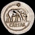 Ancient Coins - Julius Caesar Ar denarius, 49-48 B.C. - Elephant / Emblems of the pontificate: simpulum, aspergillum, securis and apex.