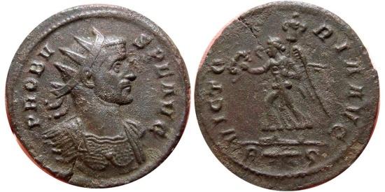 Ancient Coins - Probus AE antoninianus. Rome R thunderbolt S. VICTORIA AVG. Scarce