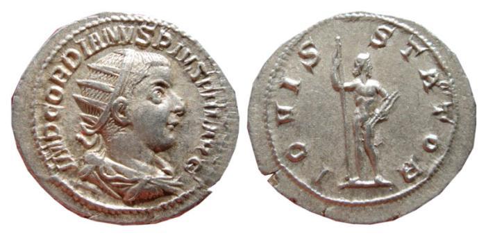 Ancient Coins - Gordian III AR antoninianus, Rome, 238- 244 A.D. IOVI STATOR.