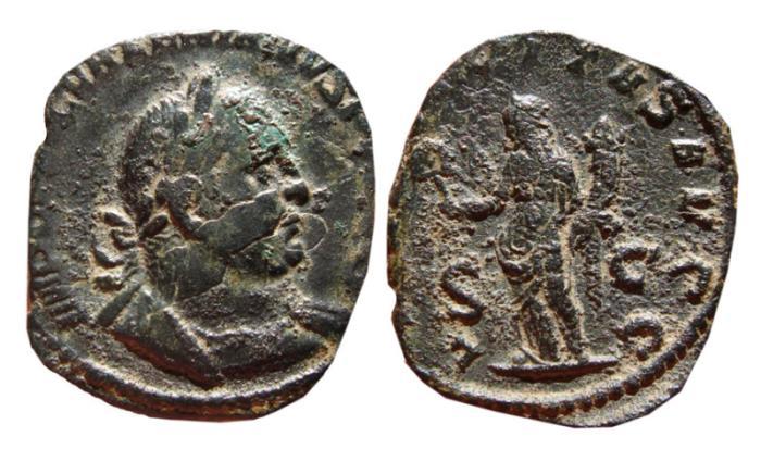 Ancient Coins - Valerian I AE sestertius. 255-256 AD. LIBERALITAS AVGG, S-C. Scarce.