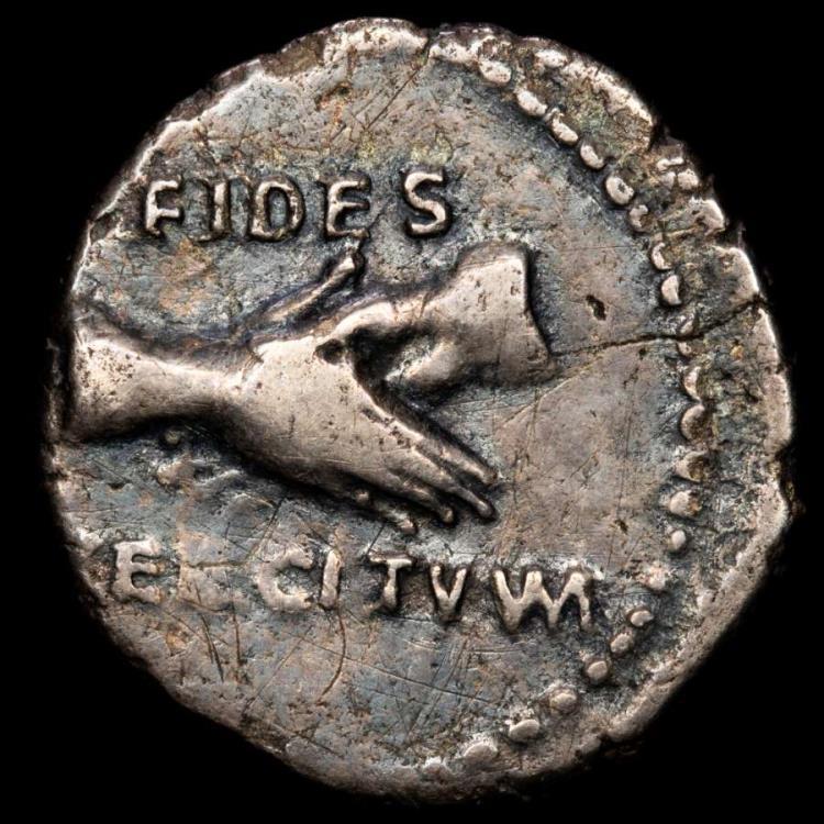 Ancient Coins - Vitellius (April - 20 December AD 69.) Ar denarius. Lugdunum. FIDES EXERCITVVM, clasped hands