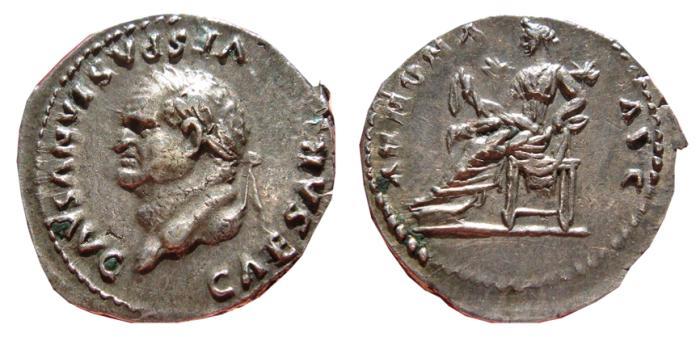 Ancient Coins - Vespasian AR denarius. Rome, 77-79 AD. ANNONA AVG. VF+.