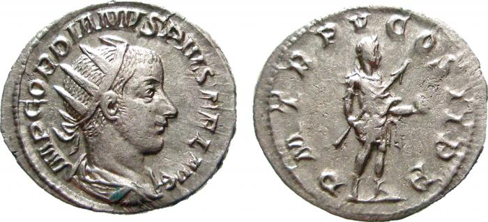 Ancient Coins -  Gordian III AR antoninianus, Rome mint, 241-243 A.D.  P M TR P V COS II P P. EF.
