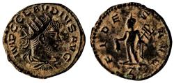 Ancient Coins - BI antoninianus of Claudius II Gothicus, Antioch mint: FIDES AVG - Hermes standing left, holding purse and caduceus; RIC 207