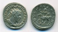 Ancient Coins - AR Antoninianus of Philip I, Rome: ADVENTVS  AVGG - Philip on horse