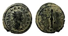 Ancient Coins - AE Antoninianus of Claudius II Gothicus, Antioch mint: SALVS AVG - Isis Faria standing, holding sistrum and basket; RIC 217
