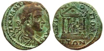 """AE25 Tetrassarion of Gordian III 238-244 AD., Hadrianopolis, Thrace, """"Tetrastyle Temple containing figure of Tyche"""""""