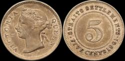 World Coins - Straits Settlements (British Colony), Victoria, 5 Cents 1901
