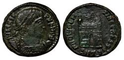 Ancient Coins - Follis of CRISPUS, Thessalonica mint: PROVIDENTIAE CAESS - Campgate with two turrets; star above; RIC 155.