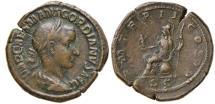 Ancient Coins - AE Sestertius, Gordian III, Rome: P M TR P II COS P P / S C - Roma seated left
