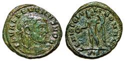 Ancient Coins - Scarce Æ quarter follis of Severus II As Caesar, Siscia mint: GENIO POPVLI ROMANI