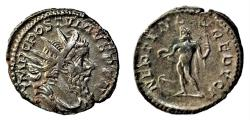 Ancient Coins - Billon Antoninianus of Postumus, Treveri: NEPTVNO REDVCI - Neptune with dolphin, trident and forepart of vessel.