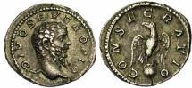 Ancient Coins - Divus Septimius Severus AR Denarius. Struck under Caracalla in Rome, AD 211. DIVO SEVERO PIO, bare head right / CONSECRATIO, eagle standing facing on globe