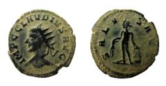Ancient Coins - AE Antoninianus of Claudius II Gothicus, Antioch mint: SALVS AVG - Apollo standing, holding olive branch and lyre; RIC Online 1051