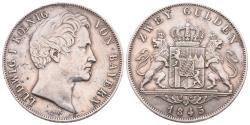 World Coins - GERMANY – BAYERN – LUDWIG I.- 2 GULDEN – 1845 – Good VF!