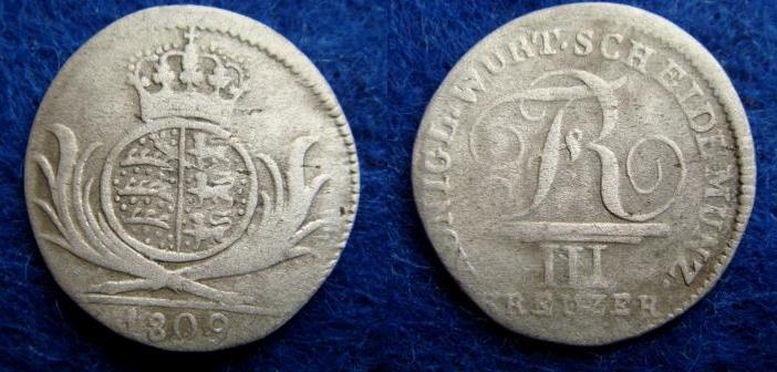 World Coins - GERMANY – WÜRTTEMBERG – 3 KREUZER – 1809 – VF-!