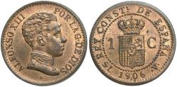 World Coins - Spain. Alfonso XIII. 1906 SL-V. 1 Centesimo. Unc., red-brown.