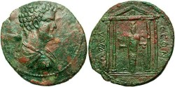 Ancient Coins - Caria, Mylasa. Geta. A.D. 209-212. Æ 39 mm. VF, green and red patina.