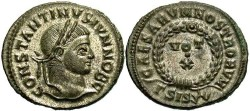 Ancient Coins - Constantine II, as Caesar. 316-337 AD. Silvered AE3. Siscia.