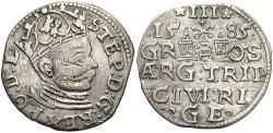 World Coins - Poland, Riga. Stephan Batory. 1585. 3 Groszy. Ch VF.