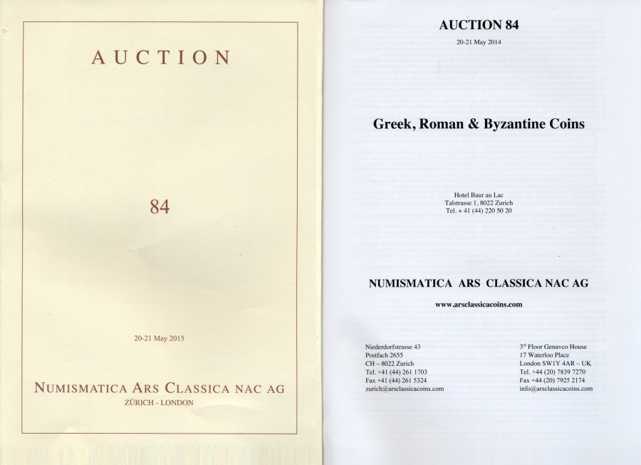 Ancient Coins - Numismatica Ars Classica (NAC) Auction 84 - May 20-21, 2015
